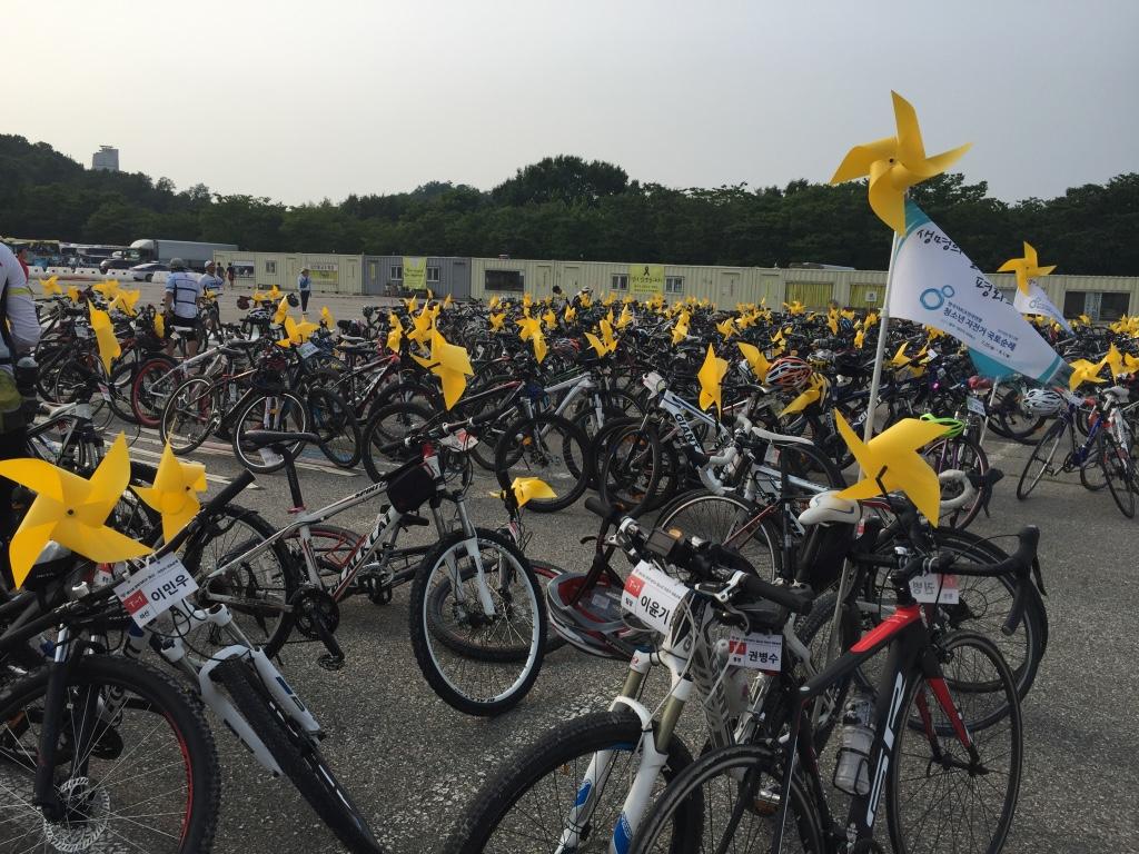 노란 바람개비를 단 자전거를 타고 단원고를 가다