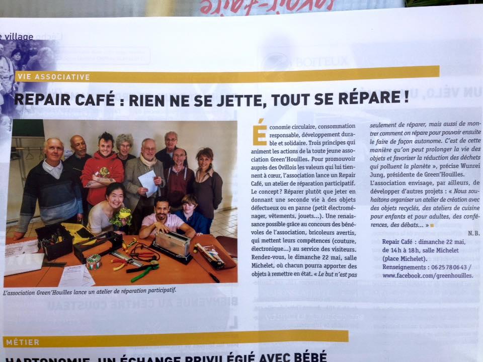 로빌루와 새 협회 그린우이와 리페어 카페 소개가 마을 신문 5월호에 나갔다.