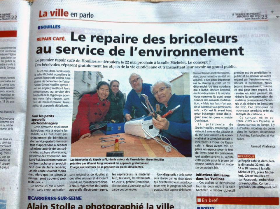 쿠리에르 데 지블린 그린우이 협회와 리페어 카페가 소개된 지방 신문, 쿠리에르 데 지블린.
