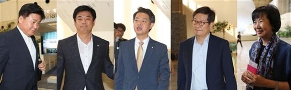 더불어민주당 소병훈(왼쪽부터), 김병욱, 김영호, 신동근, 손헤원 의원이 중국 공산당 관계자 및 학계·교민과 사드 국내 배치 문제를 논의하기 위해 8일 오전 김포공항을 통해 중국으로 출국하고 있다.