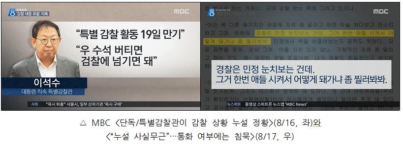 MBC의 '이석수 특별감찰관 감찰 유출 의혹' 보도(8/16, 17)