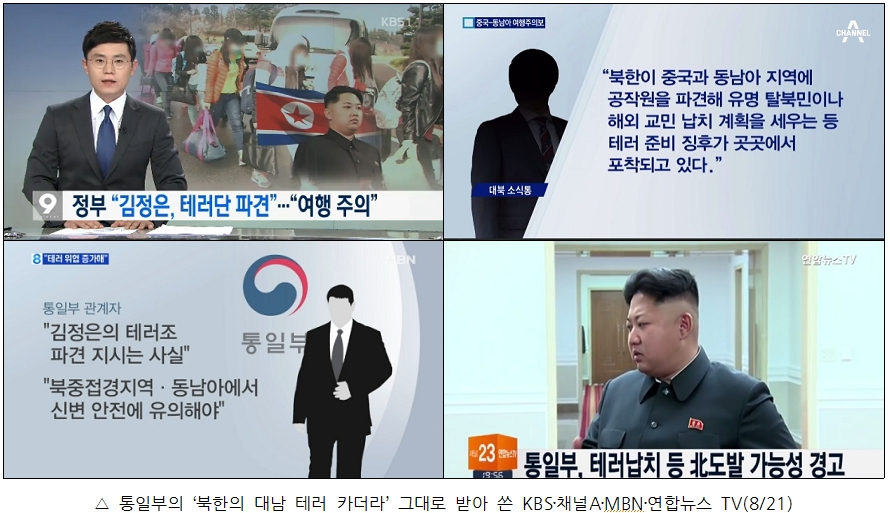 통일부의 '북한의 대남 테러 카더라' 그대로 받아쓴 KBS 채널A MBN 연합뉴스TV