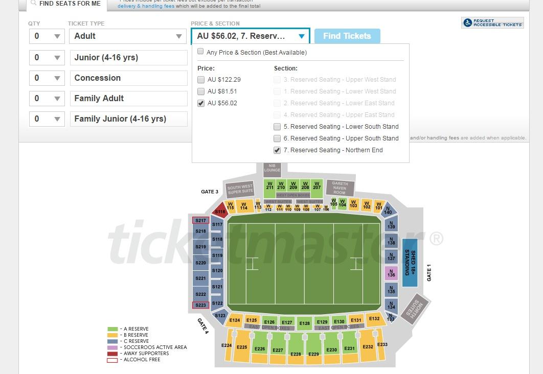 호주와 이라크 경기 예매 안내 북쪽 골대 뒤 좌석의 가격이 56호주달러를 표시하고 있다.
