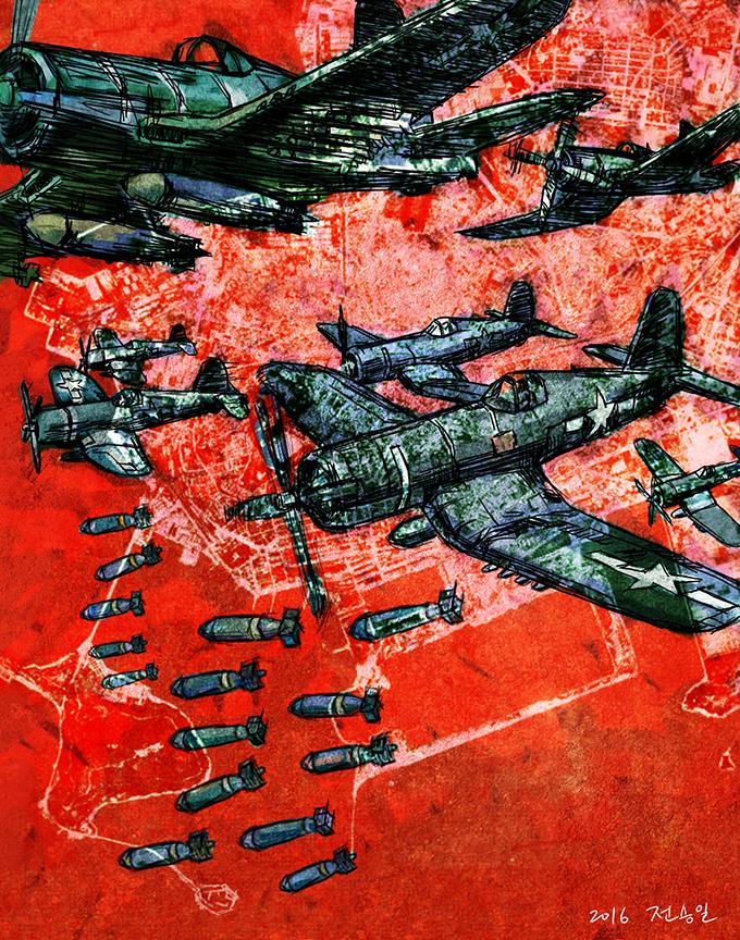 [역사의 한 컷 14] 인천 월미도 미군 폭격 사건 1950년 9월초 인천 월미도를 폭격하는 미군 항공기