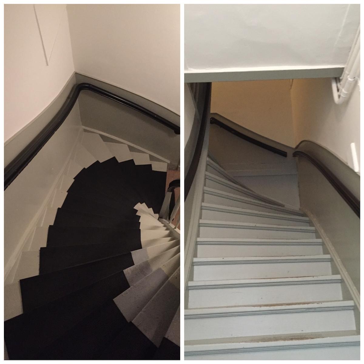 필자가 묵을 방으로 올라가는 좁고 가파른 계단