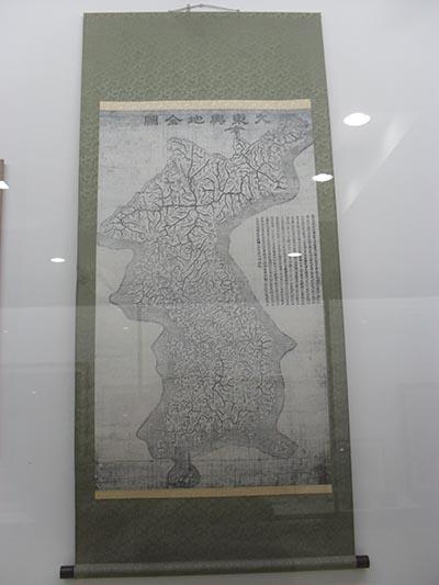 대동여지도의 축소판인 대동여지전도. 서울시 동대문구 청량리동에 있는 세종대왕기념관에서 찍은 사진.