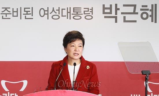 제18대 대통령 선거를 하루 앞둔 2012년 12월 18일 오전 박근혜 새누리당 대선후보가 서울 여의도 새누리당사에서 기자회견을 열고 유권자들에게 지지를 호소한 모습.