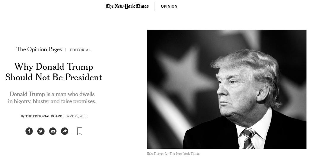 도널드 트럼프 공화당 후보를 반대하는 <뉴욕타임스> 사설 갈무리.