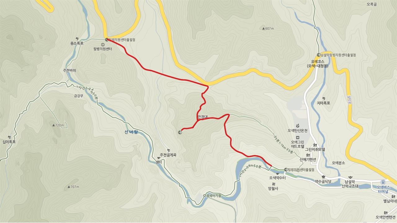 망경대 탐방로 10월 1일부터 11월 15일까지 한시적으로 개방되는 오색의 망경대 탐방로구간(붉은색 선)는 오색약수터에서 주전골을 거쳐 용소폭포 탐방지원센터에서 마을로 돌아오는 구간만 편도로 개방된다.