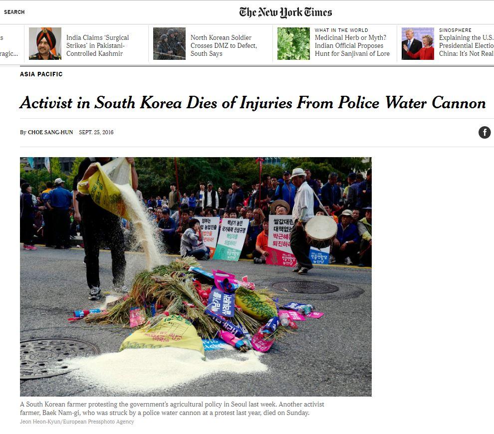 미국언론 New York Times 기사 화면 캡처