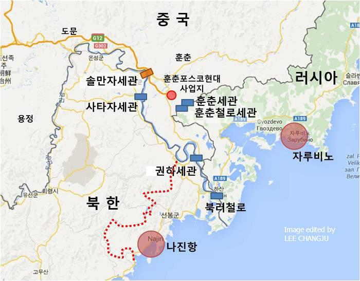 중국 훈춘시, 북한 나선특별시, 러시아 극동항만 위치도 중국 훈춘시는 북한과 2개 세관, 러시아와 2개 세관으로 연결되어 있다. 중국 훈춘시 팡촨은 동해와 15.5km 거리를 두고 떨어져있다. 빨간 점선은 나선특별시, 필자 직접 작성, 배경지도 출처 Google Map.