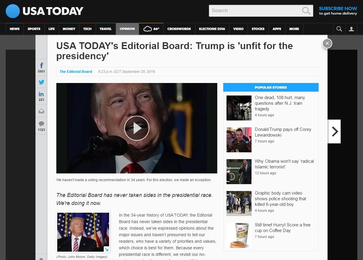 미국 일간지 <USA투데이>의 도널드 트럼프 반대 사설 갈무리.