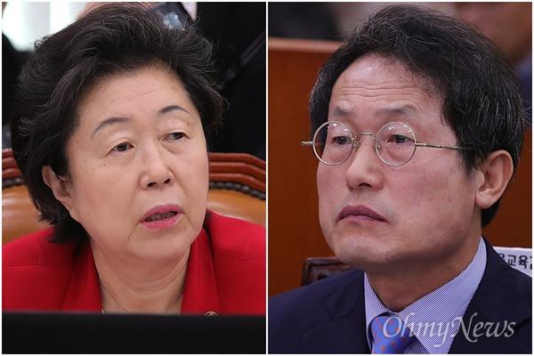 이은재 새누리당 의원과 조희연 서울시교육감이 6일 오전 국회 교육문화관광위원회 국정감사에 참석하고 있다.