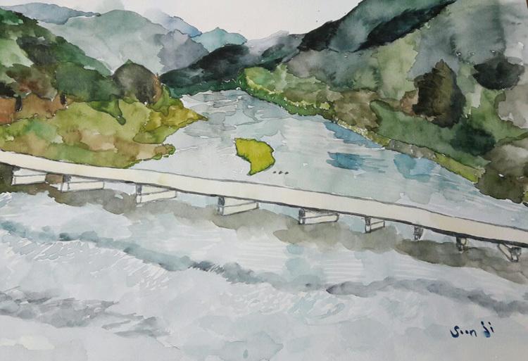 그림-굽이 돌며 흐르는 아름다운 섬진강