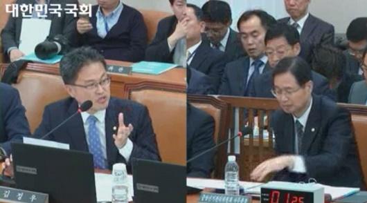 질의하는 김정우 의원 김용희 중앙선관위 사무총장을 상대로 질의하는 김정우 의원(더민주)