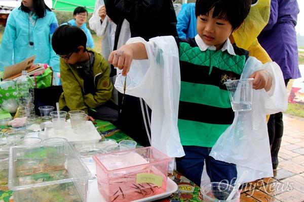 16일 오후 창녕 도천면 송진리 낙동강에서 열린 '생물다양성 증진을 위한 낙동강 생물시민대탐사' 행사에서 한 어린이가 채집해 온 곤충을 들어보이고 있다.
