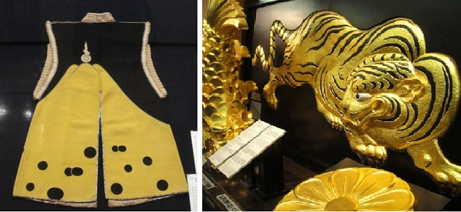 도요토미 히데요시가 입었다는 진파오리 옷과 그를 상징하여 오사카성에 꾸며놓은 사자상입니다.