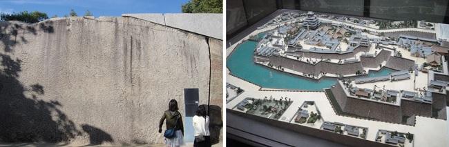 오사카성 문 앞에 있는 큰 돌입니다. 오카야마에서 옮겨온 것으로 100톤 정도라고 합니다. 오른쪽 사진은 두 겹으로 해자를 두른 오사카성 모습입니다.