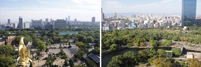 오사카 성 천수각에서 내려다 본 오사카 시가지입니다. 오사카 성 둘레에는 공원입니다.