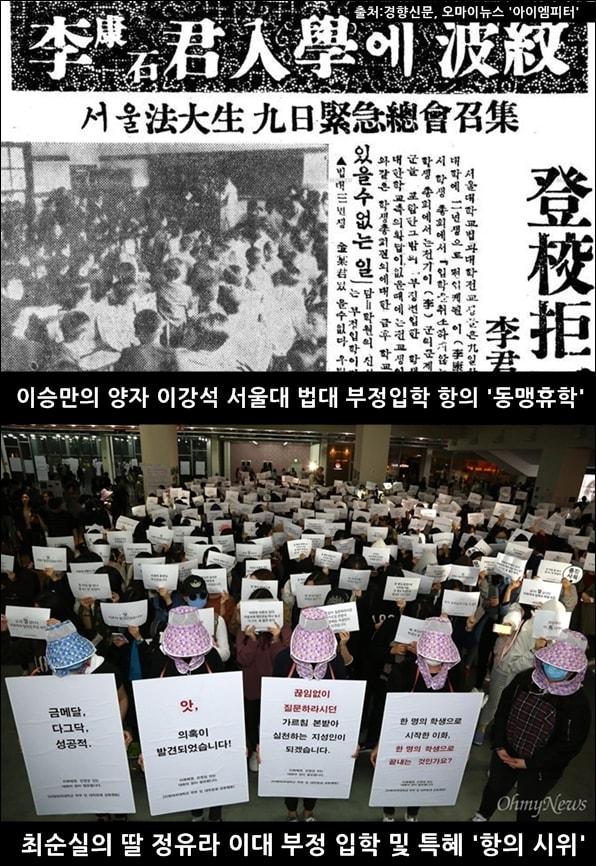 1957년 서울대 법대생들은 이강석의 부정 편입학에 항의하며 동맹 휴학을 했고, 2016년 이화여대 학생들은 정유라의 특혜 의혹에 항의 시위를 했다.