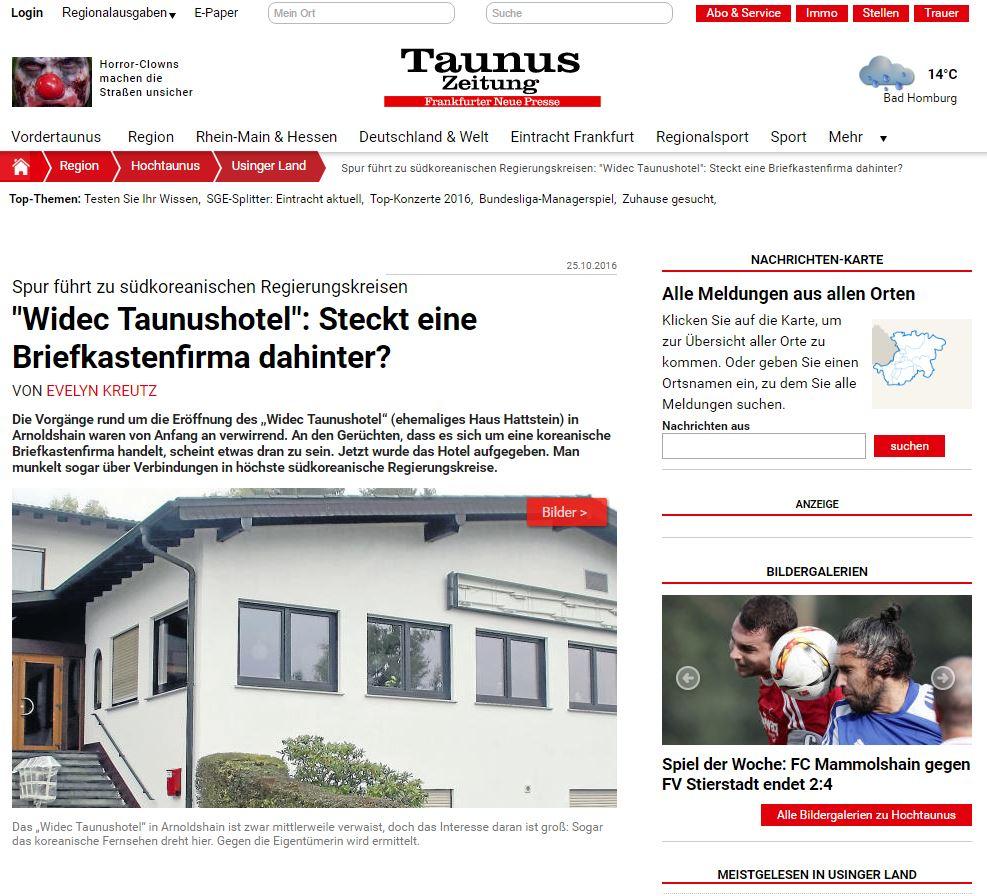 독일지역언론 타우누스(Taunus)의 보도  독일지역언론 타우누스(Taunus)가 10월 25일자로 비덱 타우누스 호텔에 대한 수상한 근황을 전하고 있다.