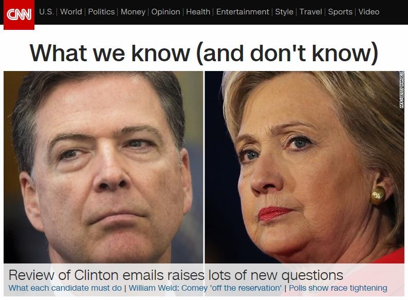 제임스 코미 미국 연방수사국(FBI) 국장과 힐러리 클린턴 민주당 대선후보의 갈등을 보도하는 CNN 뉴스 갈무리.