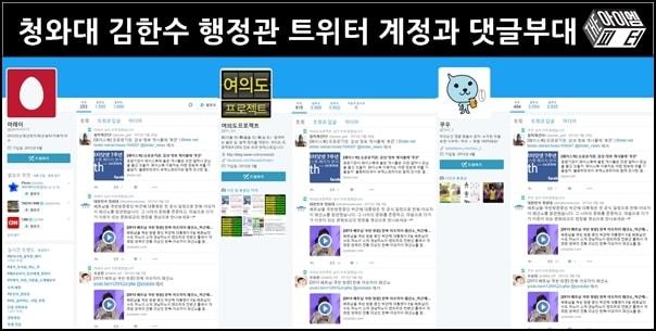 김한수 행정관이 청와대에서 운영했던 것으로 확인된 계정들. 세 계정이 모두 똑같은 글을 똑같이 리트윗했다.