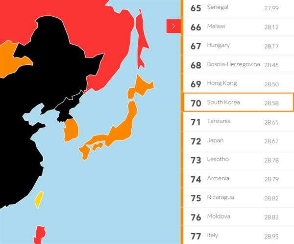 국경없는 기자회가 발표한 2016 언론자유 지수 결과. 한국은 70위를 기록했다.