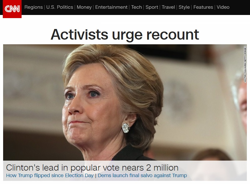 미국 대선 전체 득표와 해킹 의혹을 보도하는 CNN 뉴스 갈무리.