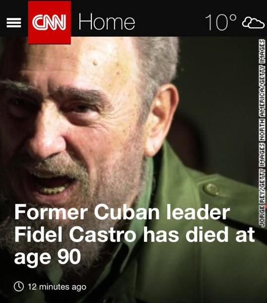 카스트로의 부고가 전해지자 뉴욕타임스, CNN, BBC 등 주요 외신들은 그의 타계소식을 대서특필했다.