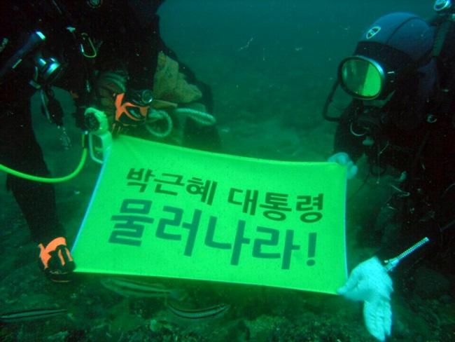"""물속에서도 """"박근혜 대통령 물러나라!""""를 외치고 있습니다. 지난 11월 5일 여수 백도 수중 사진입니다."""