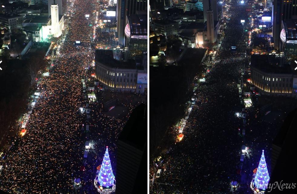 국민들의 분노, '세월호 7시간 밝히고 박근혜 퇴진하라!  3일 오후 서울 광화문광장에서 열린 '촛불의 선전포고-박근혜 즉각 퇴진의 날 6차 범국민행동'에서 수많은 시민들이 '세월호 7시간'을 밝히자는 의미로 7시에 맞춰 소등을 하고 있다.