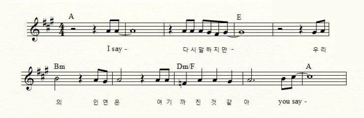 B1A4의 신곡 `거짓말이야`의 도입부 (~ 0;22초)