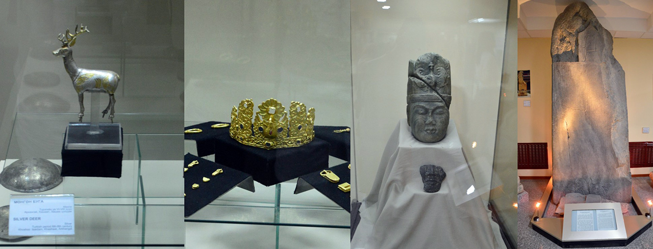 돌궐족 유물. 돌궐족이 남긴 비석과 두상, 금관 등을 통해 당시 돌궐인들의 생활상을 알 수 있다.