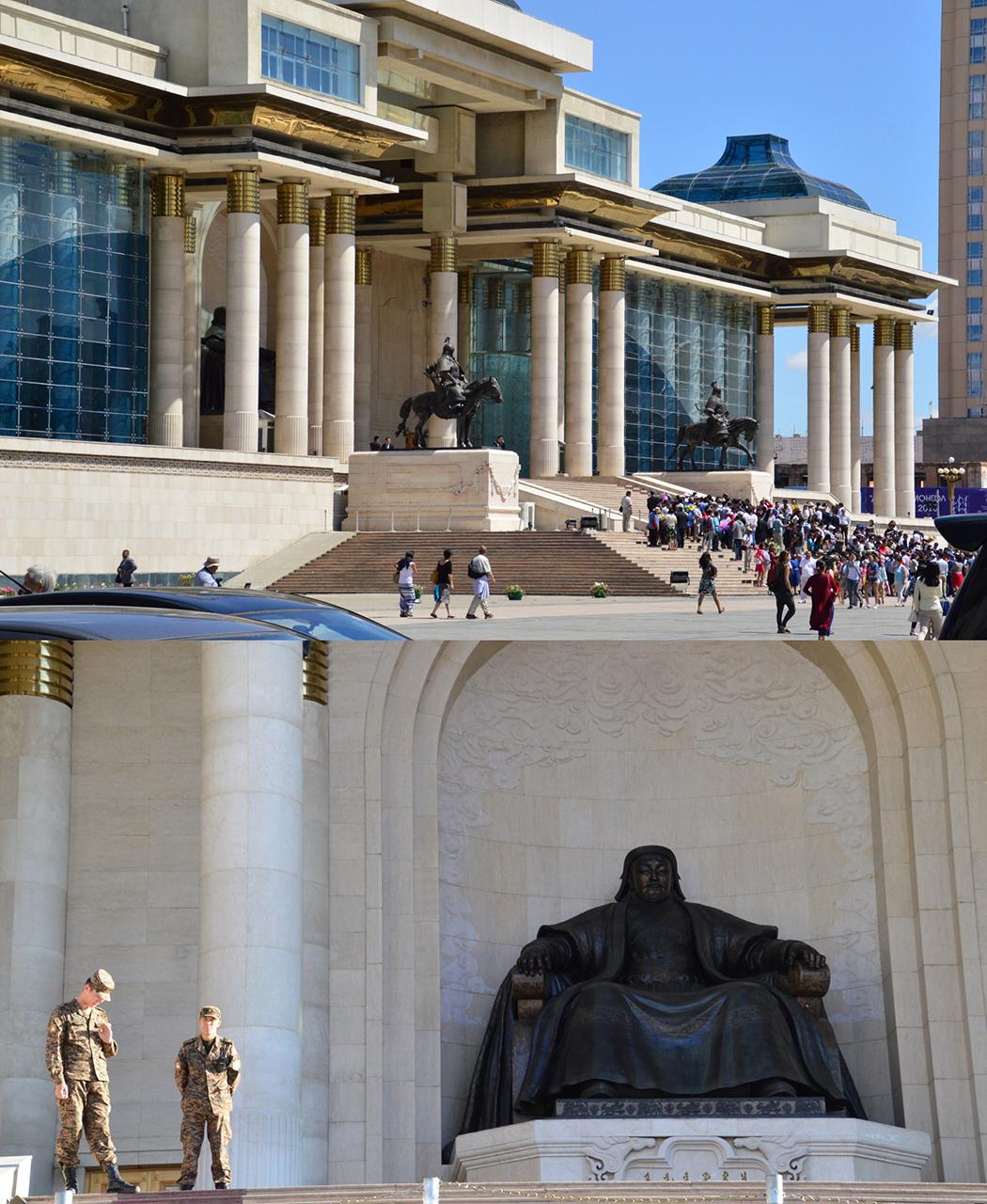 칭기즈칸 청동상. 칭기즈칸의 거대한 동상이 앉아서 광장의 몽골인들을 내려다보고 있다.