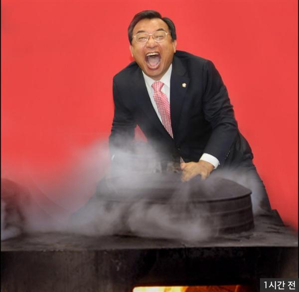 한 누리꾼이 만든 이정현 새누리당 대표 합성 이미지. '손에 장 지지겠다'는 일부 언론의 보도에 영감을 받은 듯.