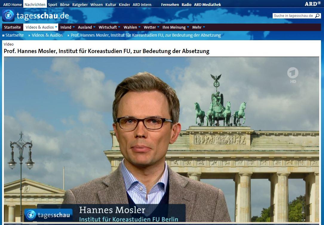 tagesschau 뉴스 화면 캡처 독일 뉴스에서 한국의 탄핵과 촛불집회에 대해 설명하는 베를린자유대학 모슬러교수