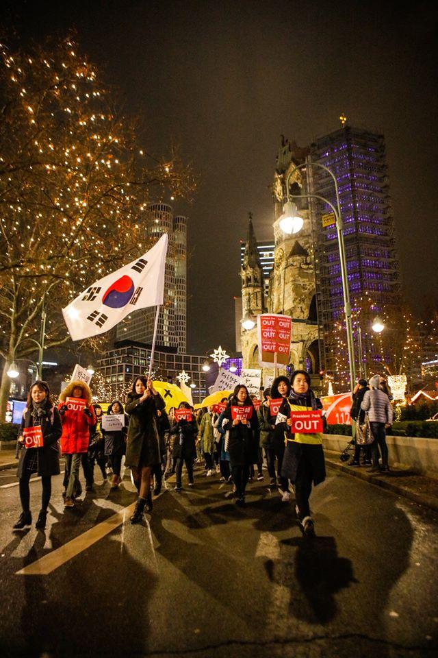 베를린 쿠담거리를 행진하는 한국 교민들