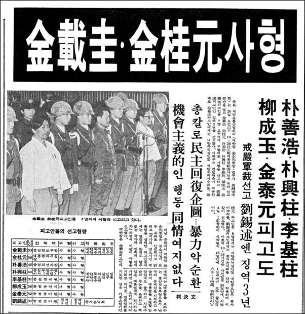 1979년 12월 20일 김재규는 사형 선고를 받았다.