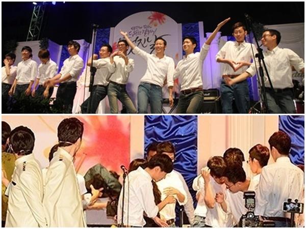 김조광수-김승환 부부의 결혼식을 축하 중인 지보이스 (위)와 무대에 난입해 인분을 투척하는 호모포비아(아래).