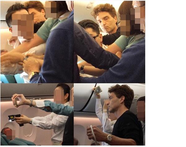 1990년 '팝 발라드 황제'인 가수 리처드 막스가 난동 승객 대처에 미숙함을 보인 대한항공 승무원들을 강하게 질타했다.  20일(현지시간) USA 투데이 등 미국 언론에 따르면 막스는 유명 비디오자키(VJ)인 아내 데이지 푸엔테스와 함께 전날 오후 베트남 하노이에서 인천국제공항으로 향하던 대한항공 480편 탑승했다가 겪은 일을 페이스북에 올렸다.  사진은 막스 부인 푸엔테스가 인스타그램에 올린 사건 장면. 막스(오른쪽 아래)가 포승줄을 들고 있다.