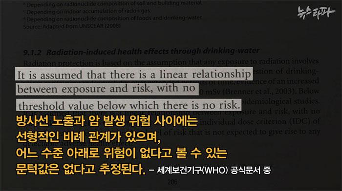 """2011년 발간된 WHO 보고서 """"Guidelines for Drinking-water Quailty(4th Edition)"""" 역시 건강에 영향을 미치지 않는 기준치 이하의 방사선 노출은 없다는 입장을 밝혔다."""