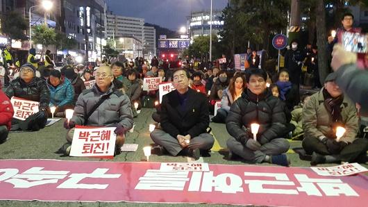 박원순 서울시장 여수 촛불집회에 참석한 박원순 서울 시장