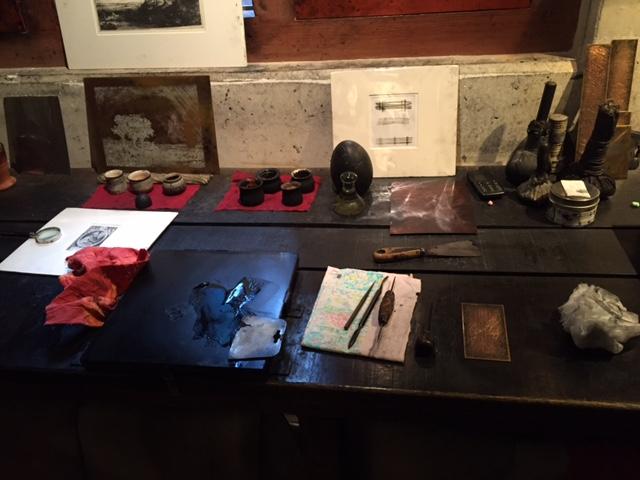 렘브란트의 집 박물관, 동판화 실습 도구들