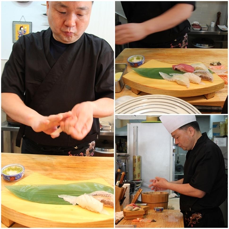 준스시의 김상준 셰프가 초밥을 만들고 있다.