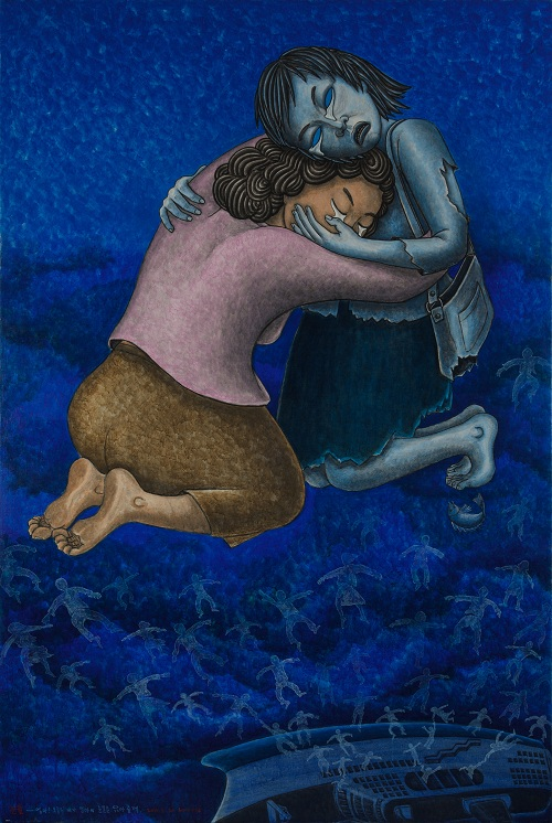 홍성담 화백 작 '눈물' (194x130cm·캔버스에 아크릴릭, 2016년) 바다 속에서 죽었다던 내 귀한 아이가 오늘 내 품에 안겼다. '엄마! 오늘은 내가 엄마의 눈물을 닦아 줄게'