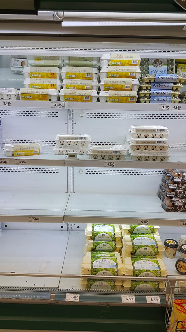 9일 오전 서울 영등포구 이마트 영등포점 계란 30개짜리 한 판이 지난 주말 품절돼 매대가 텅 비어 있다.