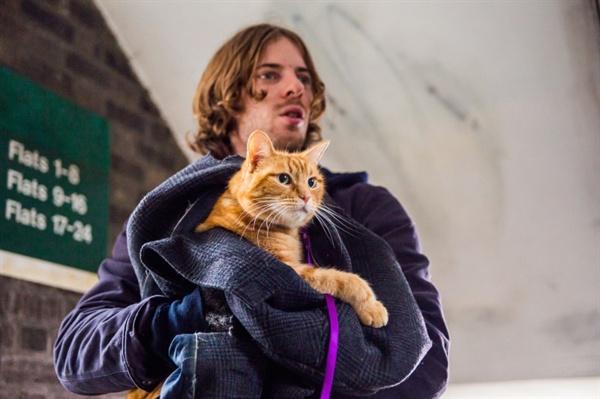 영화 <내 어깨 위 고양이, 밥>의 스틸. 노숙인 제임스(루크 트레더웨이)는 길고양이 밥과 같이 살게 되면서부터 다시 한 번 인간다운 살아갈 수 있는 기회를 잡게 된다.