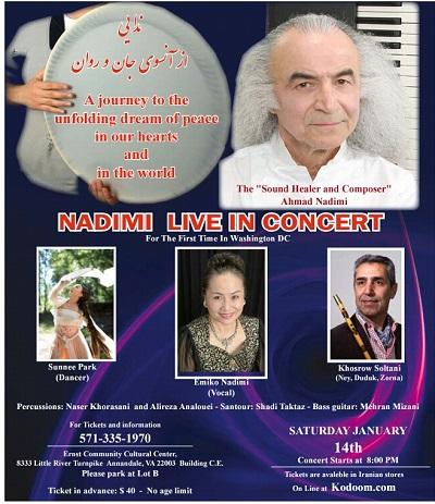 포스터 1월 14일 주말 나디미 공연을 알리는 포스터이다. 게스트로 박선희 무용가가 출연한다.