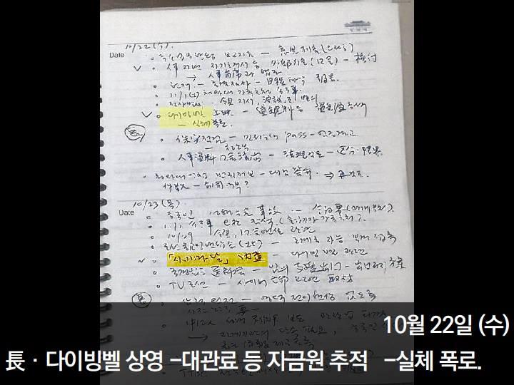 지난 12월 언론노조가 공개한 김영한 전 청와대 민정수석 비망록 중 시네마달과 다이빙벨 언급 부분.